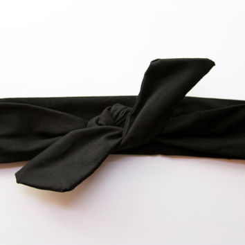 Black Dolly Bow Tie Up Wire Headband, Hair Wrap. Teens, Adults, Children's Hair Wraps