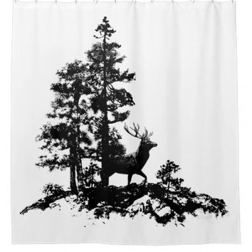 Black White Stag Forest Silhouette Art Shower Curtain