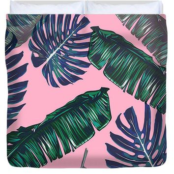 Pink And Palms Duvet Cover