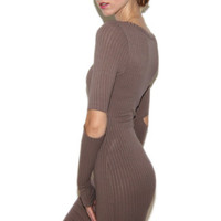 Elbow-Me-Out Ribbed Bodycon Dress in Mocha