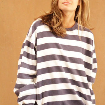 90s simple STRIPED grunge SLOUCHY warm sweater
