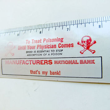 Vintage Aluminum Ruler Ad Specialty with Skull and Crossbones and Poison Control Instructions Circa 1960s USA