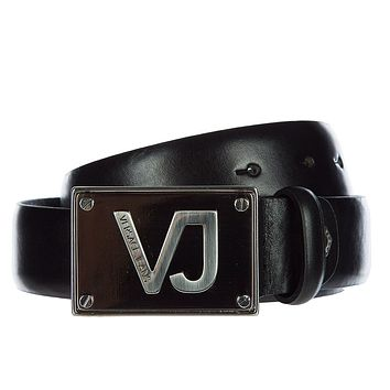 Versace Jeans men's genuine leather belt black