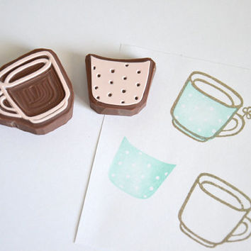 Hand Carved Rubber Stamp /  Cup