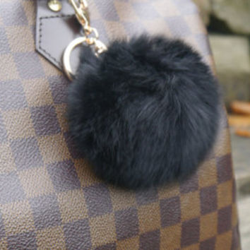 Cute Fur Ball PomPom Cell Phone Car Keychain Pendant bag Charm Key Ring