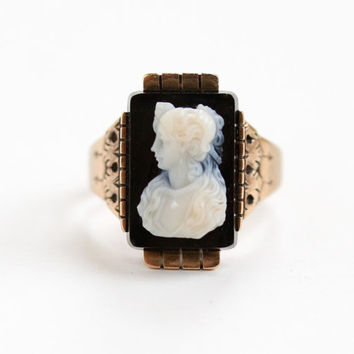 Antique 10k Rose Gold Black and White Agate Cameo Ring - Victorian Size 8 3/4 Carved Stone Intricate Woman Fine Jewelry