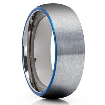 Blue Tungsten Wedding Band - Gray Tungsten Ring - Tungsten Wedding Band