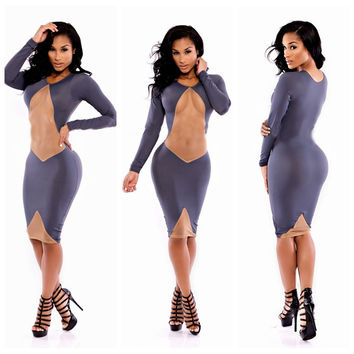 Purple Long Sleeve Front Cut Out Bodycon Midi Dress