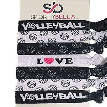 Girls Volleyball Love Hair Ties Set