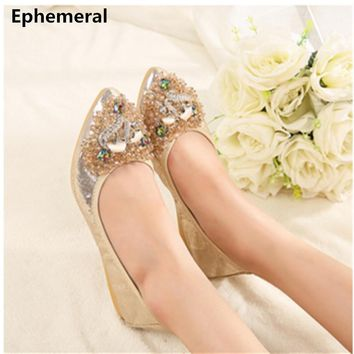 Ladies crystal gold silver wedding shoes for women dancing ballroom Latin ballerina flat slip on soft sole point toe max size 12