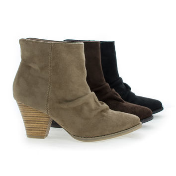 Lylee01 Almond Toe Slouchy Slip On Stacked Heel Ankle Booties
