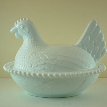 Vintage Milk Glass Hen on Basket, Milk Glass Chicken Compote, Candy Dish, Butter Dish, Kitchen Table Decor