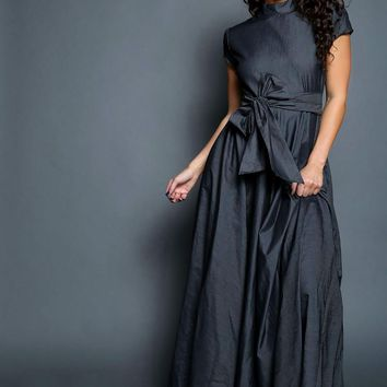 Mock Turtleneck Cap Sleeves Oversized Bow Denim Maxi Dress