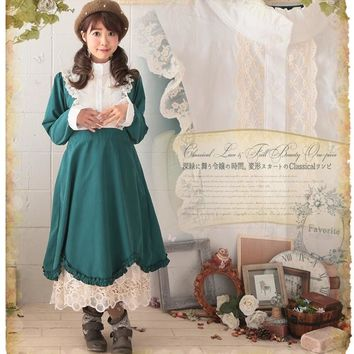 Japanese Mori Girl Hippie Boho Crochet Lace Embroidery Patchwork Ethnic Boho Lolita Sweet Tunique Femme Women Spring Fall Dress