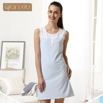 Qianxiu Cotton Pajamas Summer Coulp Lounge Wear Men Short Sleeve  Pajama Set  Women Sleeveless One Piece Nightgown