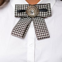 Bow Shirt Brooch Pin Black & White