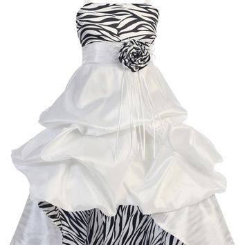 Wonder Girl Sasha Big Girls' Taffeta Zebra High Low Dress 6 White