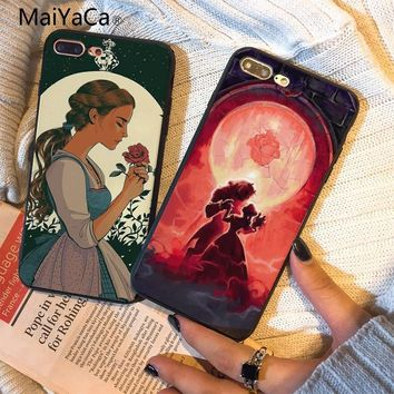 MaiYaCa Beauty Girl and Beast Rose Princess Hot selling fashion design cell Case For Apple iphone 5 5s 5c SE 6s 7 8 X Phone case