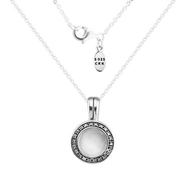 CKK 100% 925 Sterling-Silver-Jewelry Silver Necklaces for Women DIY Making with Petite Charms Floating Locket Necklaces CKN026