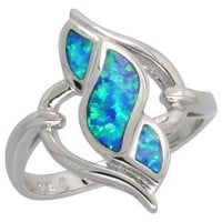Sterling Silver Synthetic Opal Inlay Diamond-shaped Swirl Ring, 13/16 inch wide, size 8