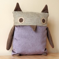 Supermarket: Owl Pillow --- Purple Lilac body, Grey Nubby Tweed face from birdenvy