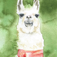 Llama Watercolor Painting Fine Art Print 8 x 10