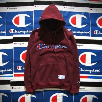Champion Patchwork Embroidered Hooded Hooded Cotton Velvet Hooded Sweater Jacket For Boys And Girls Wine Red