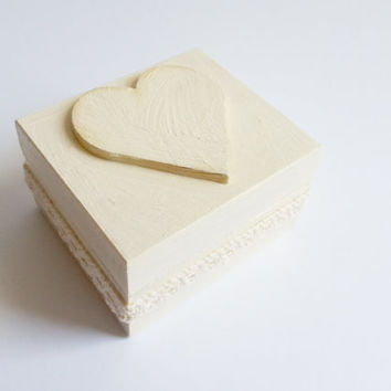 Cream ecru and gold wedding rings box with heart box and cotton lace vintage wedding golden fabric gold wedding
