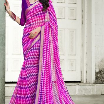 Fuchsia Georgette Saree with Blouse - SAREE - Women
