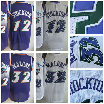 Men Retro 32 Karl Malone Jersey Uniform Rev 30 New Material 12 John Stockton Throwback Shirt Breathable Home Alternate Purple White