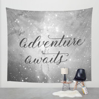 Adventure Awaits in Space - Black and White Wall Tapestry by Sarah Script