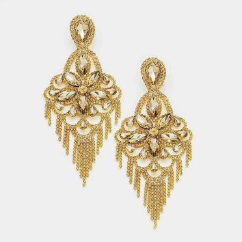 Oversized Pave Crystal Flower Fringe Evening Earrings