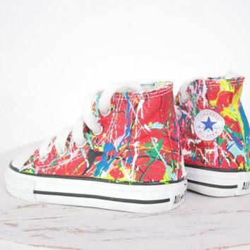 Kid's LowTop or HighTop Splatter Painted Converse or Vans Sneakers Size 10.5-3, Custom