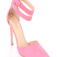 Hot Pink Ankle Strap Single Sole Heels Faux Leather