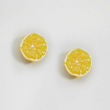 Limited Edition Lemon Stud Earrings at asos.com