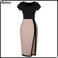 ROMWE 2016 Spring Vestido Curto Short Sleeve Round Neck Colour-block Black and Apricot Split Bodycon Sexy Lady Dress