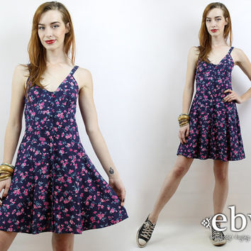 Vintage 90s Navy + Pink Floral Mini Dress XS 90s Floral Dress 90s Dress 90s Mini Dress Floral Jumper 90s Floral Sundress Navy Floral Dress
