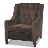 Office Star Avenue Six Curves Tufted Accent Chair in Chocolate Velvet Fabric
