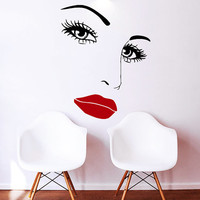 Makeup Wall Decal Vinyl Sticker Decals Home Decor Design Mural Make up Eyes Girl Woman Lips Cosmetic Hairdressing Hair Beauty Salon AN659