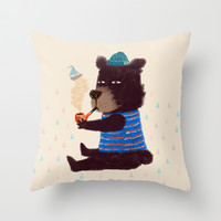 BLACK BEAR SAILOR II Throw Pillow by dogooder