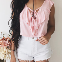 Clarissa Lace Up Top (STRAWBERRY)