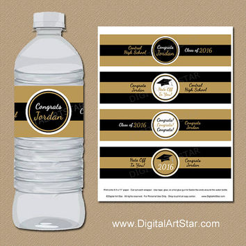 Personalized Graduation Water Bottle Wrappers - DIY Printable Graduation Labels - Class of 2016 Black & Gold Water Bottle Wraps Download