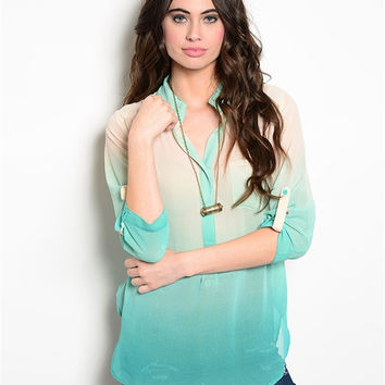 Mint Green and Cream Ombre Dyed Blouse