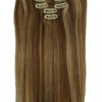 """New Ok Buy 15"""" Clip in Remy Human Hair Extensions 12/613# Light Brown with Bleach Blonde 7pcs 70g"""