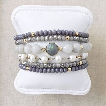 Pretty in Grey Bracelet Stack