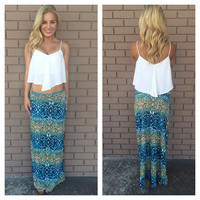 Tropical Forest Print Roll Down Maxi Skirt