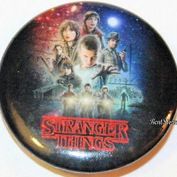"Licensed cool Netflix Stranger Things Cast Character Group Eleven Poster 1 1/4"" Pin Button NEW"