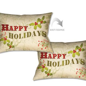 Happy Holidays Indoor Decorative Pillow