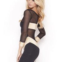 Quontum Gold Cross Dress with Mesh 3/4 Sleeve