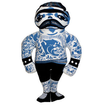 It's awesome tattoo man doll print on cotton fabrication, the image designed by Los Angeles tattoo artist Jason Schroder, inspired by turn of the century real tattooed people. Mr. Percy is tattooed front and back.